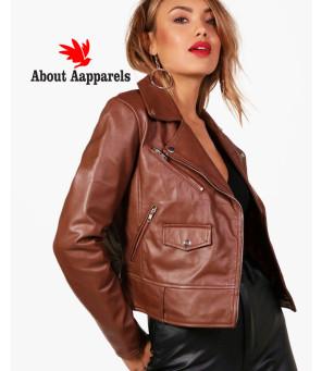 New-Fashion-Brown-Leather-Biker-Jacket