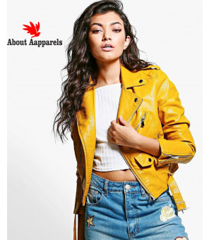 New-Most-Selling-Crop-Leather-Look-Biker-Jacket