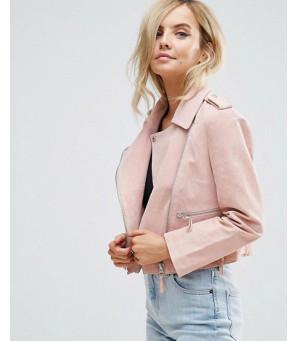 Real-Pink-Suede-Biker-Moto-Leather-Jacket