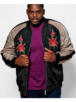 Big-And-Tall-Black-Raglan-Rose-Badged-Bomber-Varsity-Jacket
