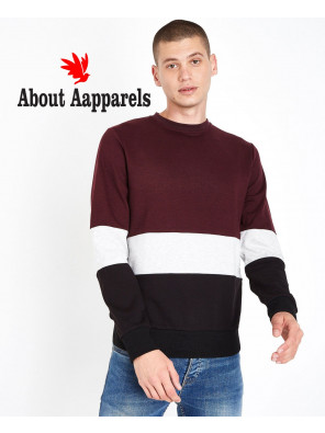 Hot-Selling-Men-Burgundy-Colour-Block-Sweatshirt