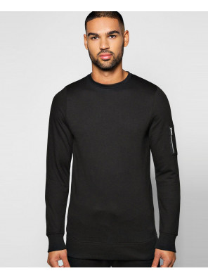 Men-Slim-Fit-Black-Crew-Neck-Sweatshirt