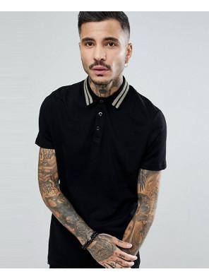 Men-With-Gold-Metallic-Collar-Taping-In-Black-Polo-Shirt
