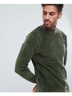 Muscle-Fit-Sweatshirt-In-Green-Velour