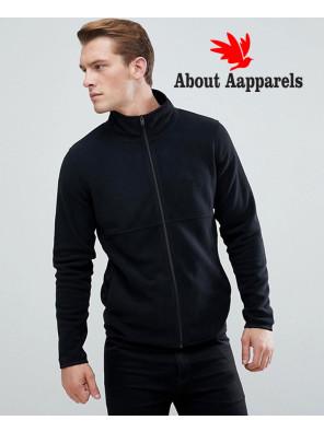 New-Stylish-Plain-Black-Fleece-Track-Jacket
