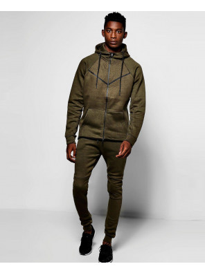 Skinny-Fit-Hooded-Ribbed-Tracksuit