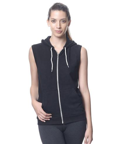 All-Black-Zipper-Sleeveless-Women-Hoodie
