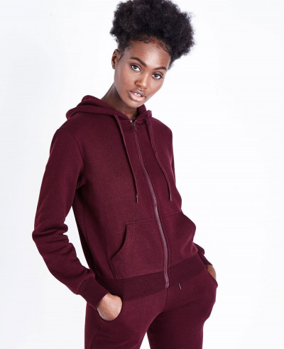 Burgundy-With-Front-Zipper-Hoodie
