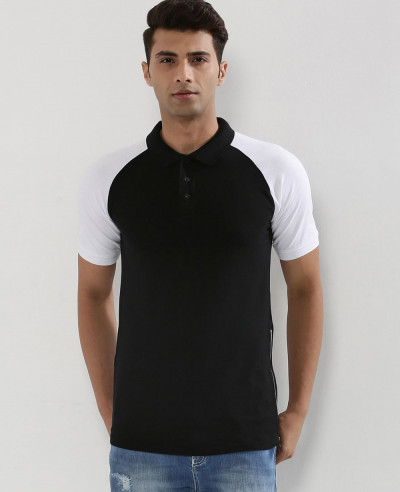 Contrast-Sleeve-Raglan-Polo-Shirt-With-Side-Zipper
