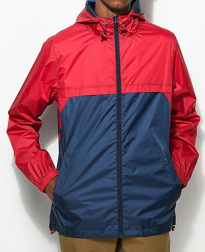 Full-Zipper-High-Custom-Made-Navy-&-Red-Windbreaker-Jacket