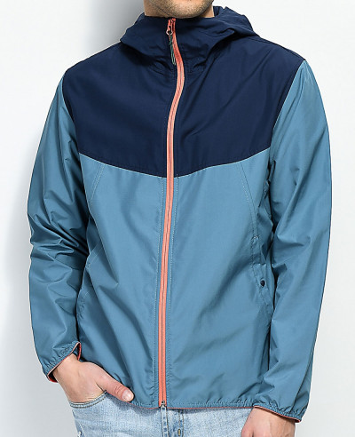 High-Quality-Custom-Made-Blue-Navy-&-Pink-Hooded-Windbreaker-Jacket