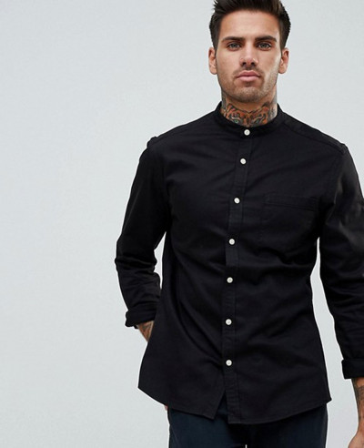 High-Quality-Men-Stretch-Slim-Denim-Shirt-With-Grandad-Collar-In-Black