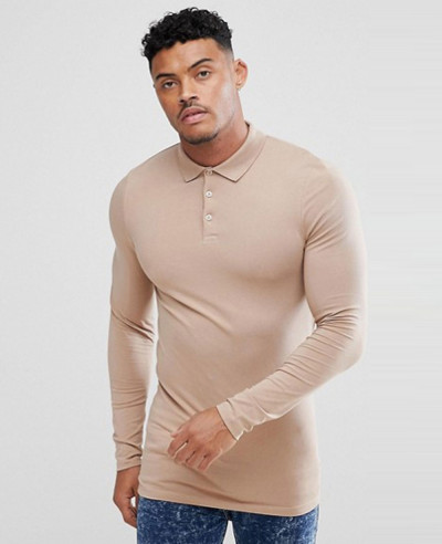 Hot-Selling-New-Design-Longline-Muscle-Fit-Long-Sleeve-Polo-Shirt