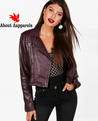 Hot-Selling-Women-Crop-Leather-Jacket