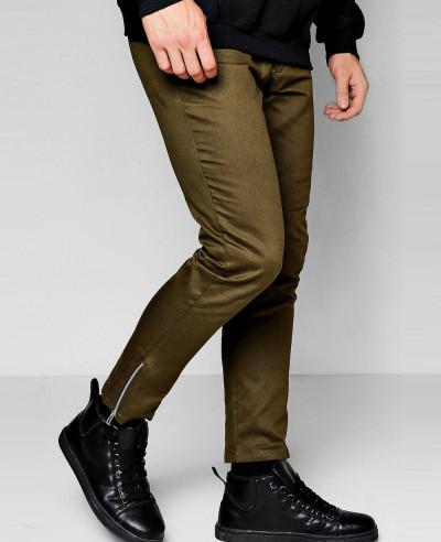 Khaki-Cropped-Ankle-Zip-Detail-Slim-Chino