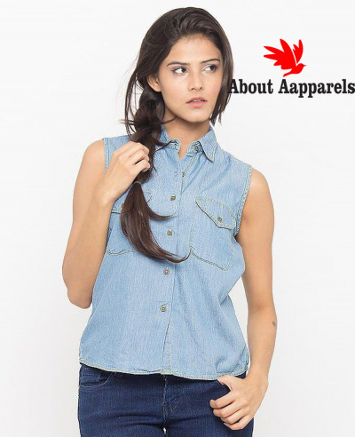 Light-Blue-Denim-Short-Button-Down-Cropped-Shirt-Pocket