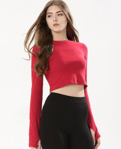 Long-Sleeve-Red-Jersey-Crop-Top