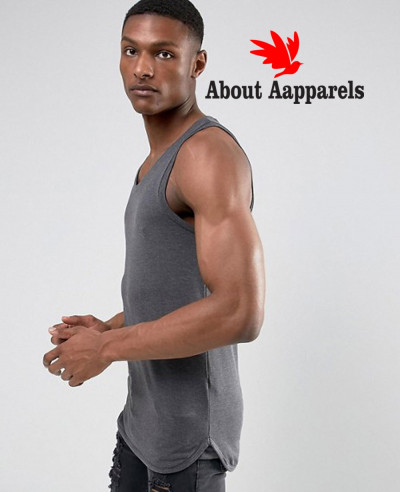 Longline-Gym-Muscle-Vest-With-Bound-Hem-In-Grey-Tank-Top
