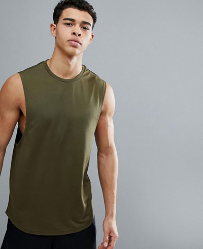 Longline-Sleeveless-Custom-With-Quick-Dry-In-Khaki-Tank-Top