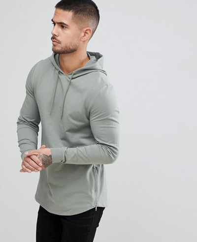 Men-Casual-Longline-Muscle-Fit-With-Side-Zipper-Hoodie
