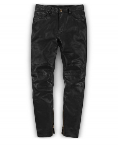 Men-Genuine-Leather-Long-Punk-Pants-Black-Business
