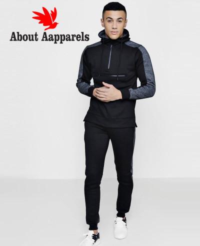 Men-Hot-Selling-Custom-Skinny-Fit-Zipper-Front-Hooded-Tracksuit