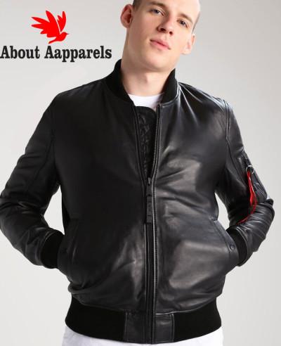 Men-Sheep-Bomber-Biker-Leather-Jacket