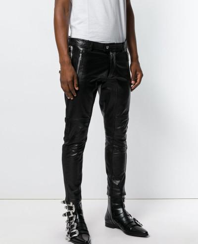 Men-Slim-Fit-Genuine-Leather-Motorcycle-Pants-Zipper