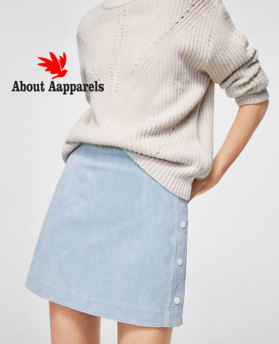 Most-Selling-Suede-Zipper-Front-Mini-Skirt