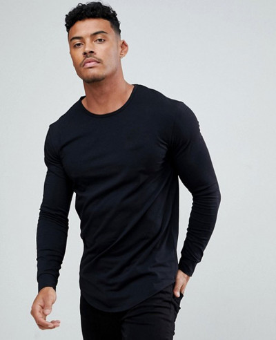 Muscle-Long-Sleeve-In-Black-With-Gold-Logo-T-Shirt