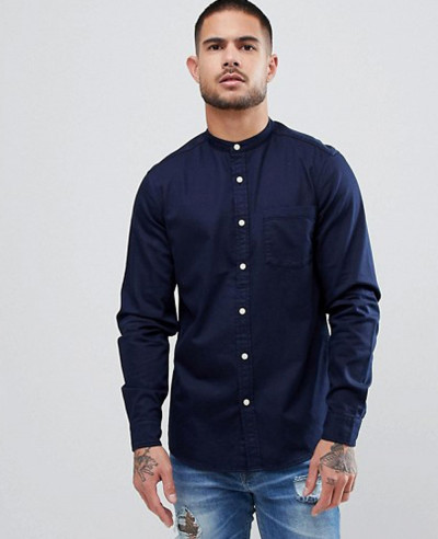 Navy-Blue-Stretch-Slim-Denim-Shirt-With-Grandad-Collar