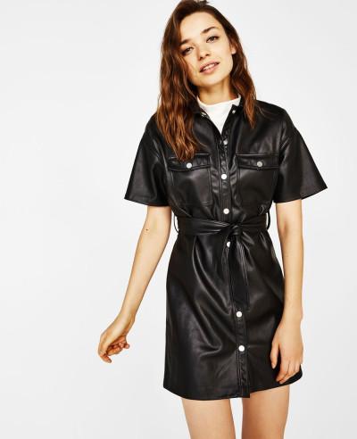 New-Black-Faux-Leather-Shirt-Dress