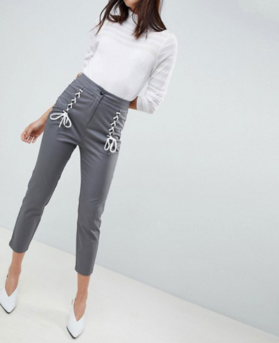 New-Design-Cigarette-Trousers-With-Lace-Up-Front
