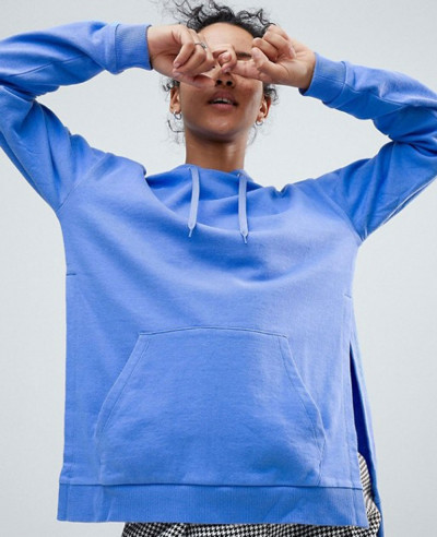 New-Fashion-Style-Blue-Hoodie-With-Side-Split-Detail