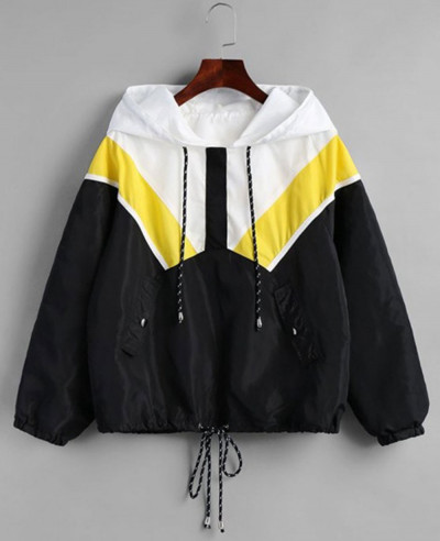 New-Half-Zipper-Contrast-Hooded-Windbreaker-Jacket-Black