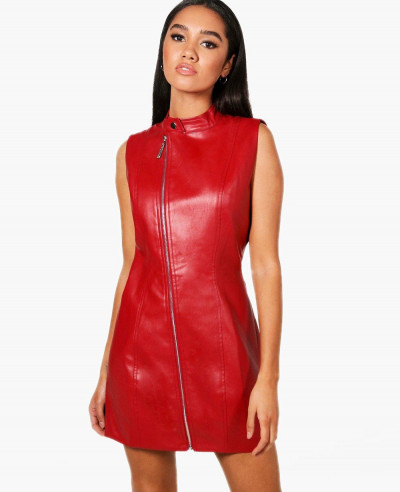 New-Look-Red-Lambskin-Leather-Bodycon-Dress