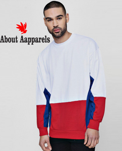 New-Men-High-Quality-Fleece-Colour-Block-Retro-Sweater-Sweatshirt