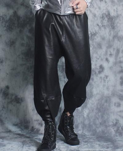 New-Men-Hot-Seeling-Custom-Faux-Leather-Trousers-Pants-Trendy-Slim