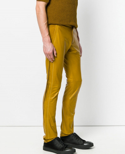 New-Stylish-Custom-Men-Slim-Fit-Leather-Trousers
