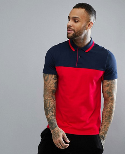 New-Stylish-Men-Colour-Block-Polo-in-Navy
