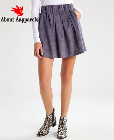 New-Stylish-Pink-Real-Suede-Leather-Mini-Skirt