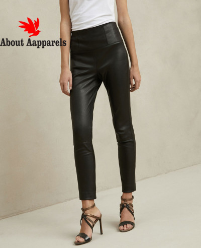 New-Stylish-Women-Black-Leather-Trousers-Pant