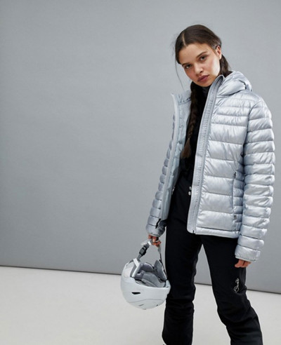 New-Stylish-Women-Quilted-Padded-Jacket-In-Silver