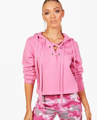 Pink-Lace-Up-Running-Fleece-Hoodie