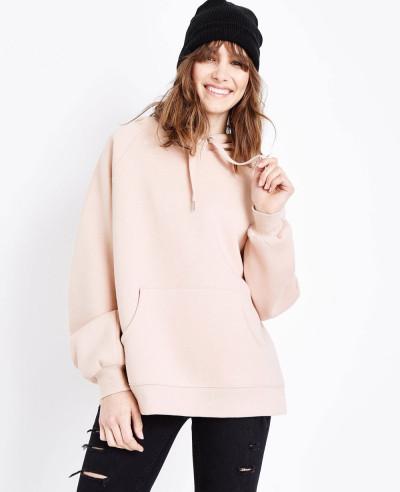 Pullover-Pink-Balloon-Sleeve-Oversized-Hoodie