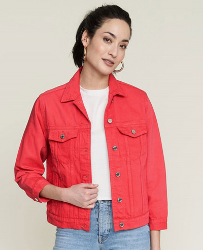 Red-Cotton-Short-Body-Denim-Jacket