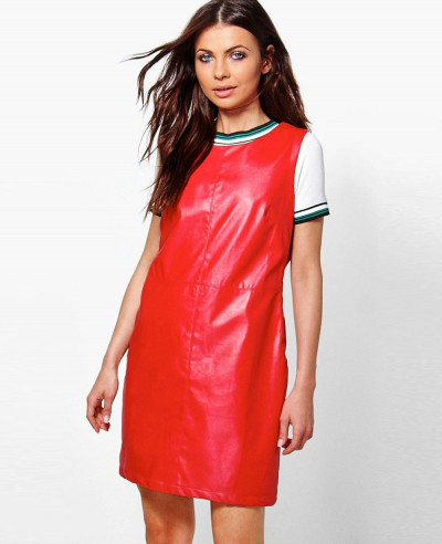 Red-Custom-Faux-Leather-Line-Pinafore-Dress