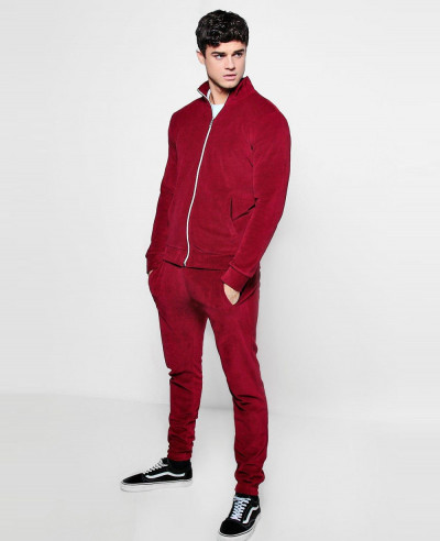 Red-Skinny-Fit-Velvet-Tracksuit