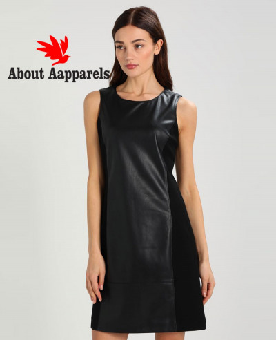 Short-Sleeve-Lambskin-Leather-Dress