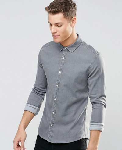 Skinny-Denim-Shirt-In-Light-Grey